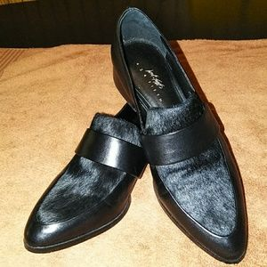 Black Lord & Taylor leather & cow hair shoes